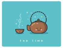 Vector flache Ikone der Teezeit, des Teetopfes und der netten Zeichentrickfilm-Figuren der Schalen Stockfoto