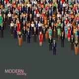 Vector flache Illustration der Geschäfts- oder Politikgemeinschaft Männer und Frauen (Geschäftsleute, Frauen oder Politiker) Stockfoto