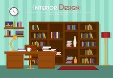 Vector flache Illustration des Raumes, Aufenthaltsraum mit Bücherregal, Tabelle mit Lampe, Schale, Lehnsessel auf dem Boden mit T Lizenzfreie Stockfotos
