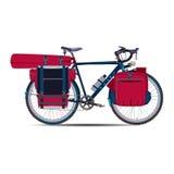 Vector flache Illustration des Reisens des Fahrrades mit bikepacking Gang Stockbild