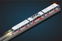 Vector flache isometrische Illustration 3d einer Untergrundbahn Zug, Himmel-Zug, U-Bahn Fahrzeuge entwarfen, großes zu transporti Stockfotografie