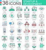 Vector flache Linie Entwurfsikonen des Starts und der Entwicklung moderne Farbfür apps und Webdesign Lizenzfreie Stockfotografie