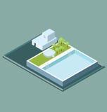 Vector flaches isometrisches Dach 3d mit Wasser-Pool Lizenzfreies Stockbild
