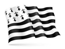 Vector flag of Brittany, France waving on wind Stock Photography