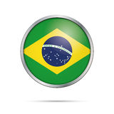 Vector flag Button. Brazil flag in glass button style. Brazil flag glass button style with metal frame Royalty Free Stock Photography