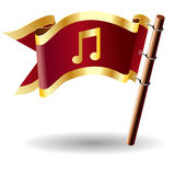 Vector flag button with music notes icon. Vector royal flag button with music notes icon on red and gold background Stock Photography