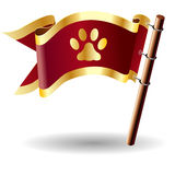 Vector flag button with paw print icon Royalty Free Stock Image