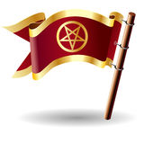 Vector flag button with pentagram icon Royalty Free Stock Image