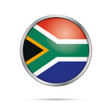 Vector flag Button. Republic of South Africa flag in glass butto Royalty Free Stock Photos