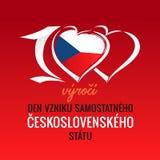 100 výročí vzniku samostatného československého státu, translation: 100th years anniversary independent Czech republic. Vector Flag of royalty free illustration