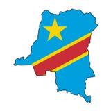 Vector Flag Democratic Republic of the Congo. The map and the flag of Democratic Republic of the Congo (cmyk to rgb Royalty Free Stock Photography