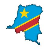 Vector Flag Democratic Republic of the Congo. The map and the flag of Democratic Republic of the Congo (cmyk to rgb Royalty Free Stock Images