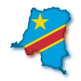 Vector Flag Democratic Republic of the Congo. The map and the flag of Democratic Republic of the Congo (cmyk to rgb Stock Photography