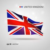 Vector flag of Great Britain. United Kingdom, Great Britain 3D style glowing flag fluttering on the wind. EPS 10 vector created using gradient meshes isolated on Royalty Free Stock Photography