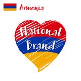 Vector flag heart of Armenia, National Brand. Royalty Free Stock Photography