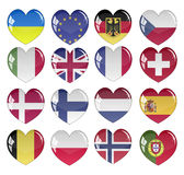 Vector - Flag Heart Glossy Button Royalty Free Stock Photo