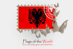 Vector flag measurements with butterflies from paper. Of Albania Royalty Free Stock Image