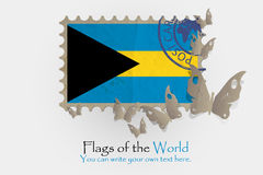 Vector flag measurements with butterflies from paper. Of Bahamas Royalty Free Stock Photography