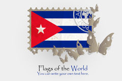 Vector flag measurements with butterflies from paper. Of Cuba Stock Images