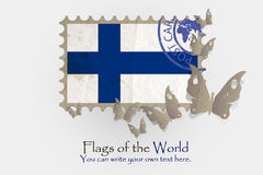 Vector flag measurements with butterflies from paper. Of Finland Royalty Free Stock Photography