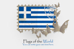 Vector flag measurements with butterflies from paper. Of Greece Royalty Free Stock Photography