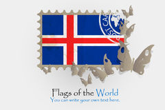 Vector flag measurements with butterflies from paper. Of Iceland Royalty Free Stock Photos
