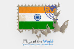 Vector flag measurements with butterflies from paper. Of India Stock Images