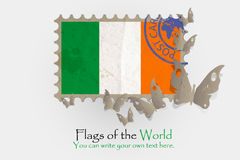 Vector flag measurements with butterflies from paper. Of Ireland Stock Photography
