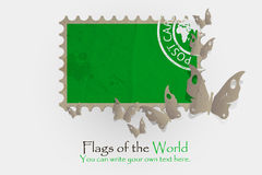 Vector flag measurements with butterflies from paper. Of Libyan Arab Jamahiriya Royalty Free Stock Photos