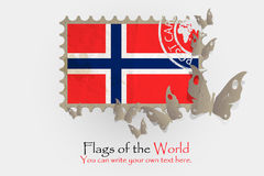 Vector flag measurements with butterflies from paper. Of Norwegian Royalty Free Stock Images