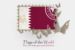 Vector flag measurements with butterflies from paper. Of Qatar Royalty Free Stock Photos