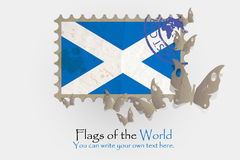 Vector flag measurements with butterflies from paper. Of Scotland Royalty Free Stock Image