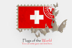 Vector flag measurements with butterflies from paper. Of Swiss Stock Image