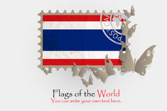 Vector flag measurements with butterflies from paper. Of Thailand Royalty Free Stock Images