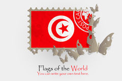 Vector flag measurements with butterflies from paper. Of Tunisia Royalty Free Stock Photos