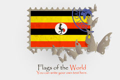 Vector flag measurements with butterflies from paper. Of Uganda Royalty Free Stock Photo