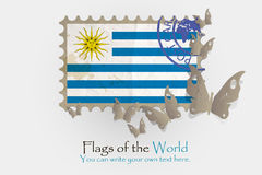 Vector flag measurements with butterflies from paper. Of Uruguay Royalty Free Stock Photo