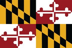Vector flag of Meryland. Vector flag of the United States of America State Maryland. Maryland original and simple flag isolated in official colors and royalty free illustration
