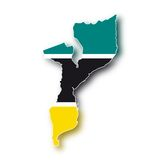 Vector Flag Mozambique. The map and the flag of the Mozambique (cmyk to rgb Stock Image
