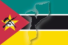 Vector Flag Mozambique. The map and the flag of the Mozambique (cmyk to rgb Royalty Free Stock Photo