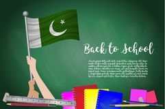 Vector flag of Pakistan on Black chalkboard background. Educatio royalty free illustration