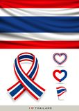 Vector Flag of Thailand, and ribbon flag with ribbon heart Stock Photos