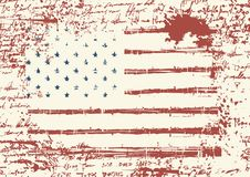 Grunge USA flag. Vintage American flag. Vector. Vector flag of the United States of America in grunge style on background of old stained manuscript with the Royalty Free Stock Photo