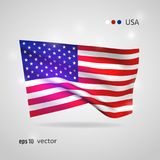 Vector flag of USA. United States 3D style glowing flag fluttering on the wind. EPS 10 vector created using gradient meshes isolated on light background. Shiny Royalty Free Stock Photography