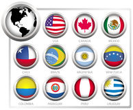 Vector flags. Of states from continent of America Stock Photo