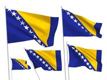 Vector flags of Bosnia and Herzegovina. Bosnia and Herzegovina vector flags set. 5 wavy 3D cloth pennants fluttering on the wind. EPS 8 created using gradient stock illustration