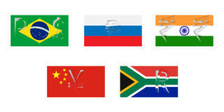 Vector flags of BRICS Royalty Free Stock Photography