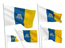 Vector flags of Canary Islands Stock Photography