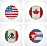 Vector flags of countries as fabric badges Stock Image