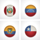 Vector flags of countries as fabric badges Royalty Free Stock Images